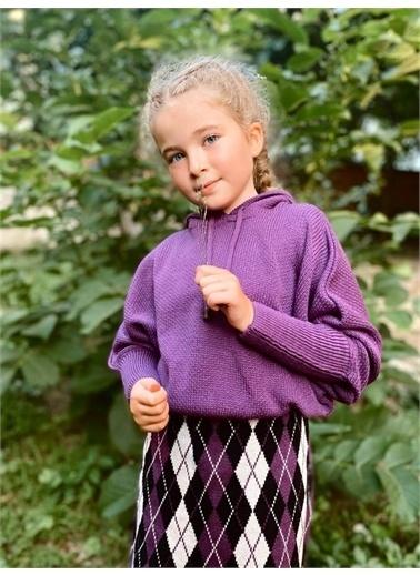 Hilal Akıncı Kids Kiz Çocuk Kapüşonlu Trıko Kazak Baklava Desenlı Trıko Etek Ikılı Takim Mor